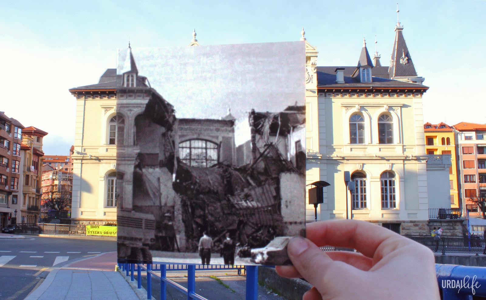 Casino de Bermeo, en la actualidad y en las inundaciones que sufrió Bizkaia en 1983